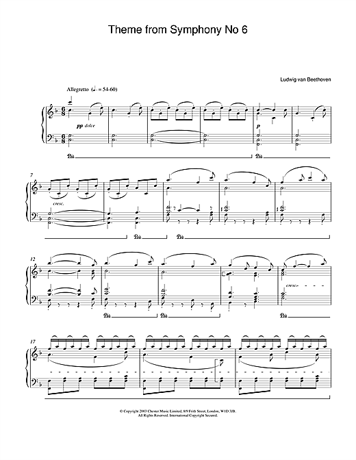 Symphony No.6 (Pastoral), 5th Movement Sheet Music