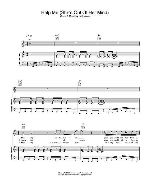 Partition piano Help Me (She's Out Of Her Mind) de Stereophonics - Piano Voix Guitare