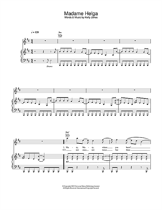Partition piano Madame Helga de Stereophonics - Piano Voix Guitare