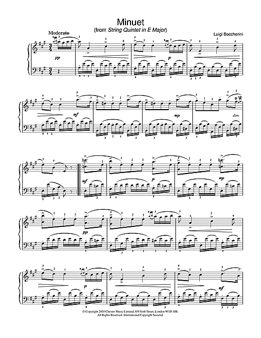 Minuet (from String Quintet in E Major, Op.11 No.5) Sheet Music