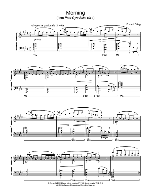 Partition piano Morning (from Peer Gynt Suite No.1) de Edvard Grieg - Piano Solo