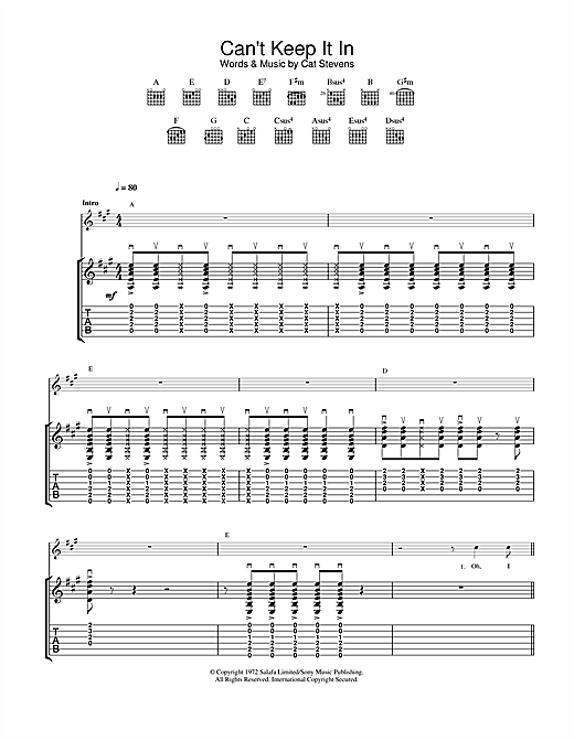 Tablature guitare Can't Keep It In de Cat Stevens - Tablature Guitare