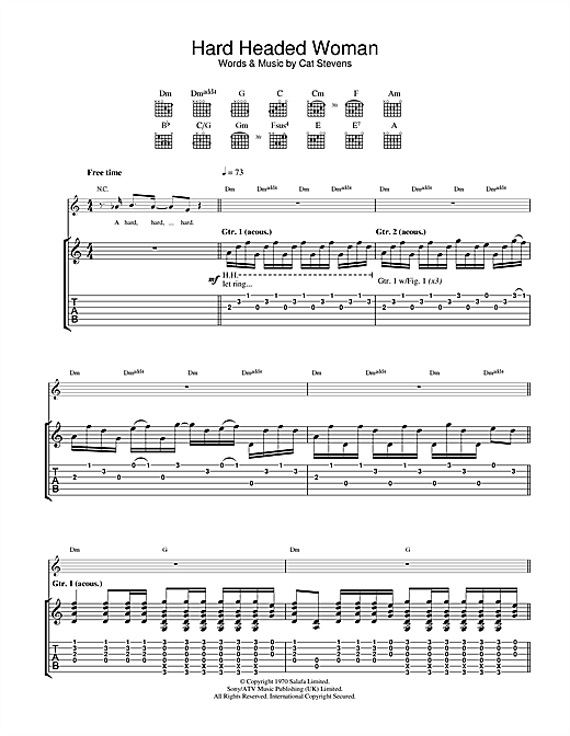 Tablature guitare Hard Headed Woman de Cat Stevens - Tablature Guitare