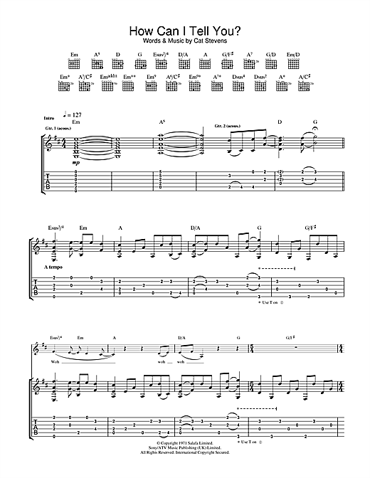 Tablature guitare How Can I Tell You? de Cat Stevens - Tablature Guitare