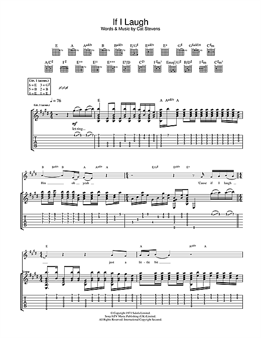 Tablature guitare If I Laugh de Cat Stevens - Tablature Guitare