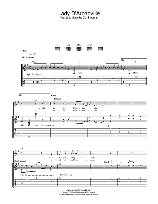 Tablature guitare Lady D'Arbanville de Cat Stevens - Tablature Guitare