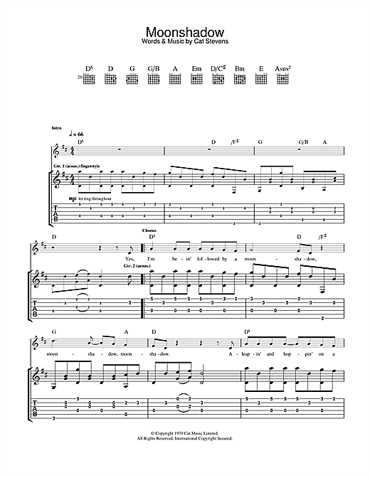 Moonshadow Sheet Music