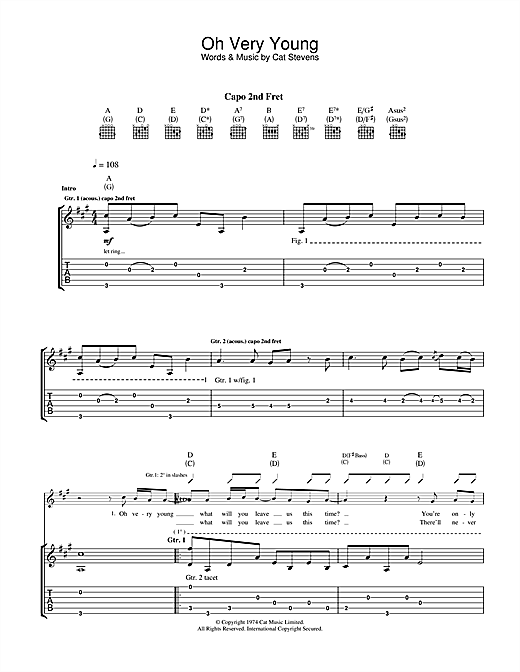 Tablature guitare Oh Very Young de Cat Stevens - Tablature Guitare