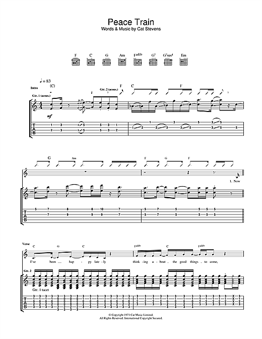 Tablature guitare Peace Train de Cat Stevens - Tablature Guitare