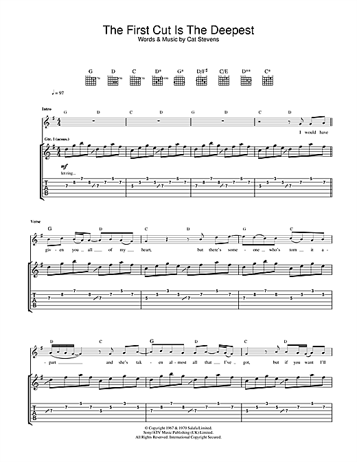 The First Cut Is The Deepest (Guitar Tab)