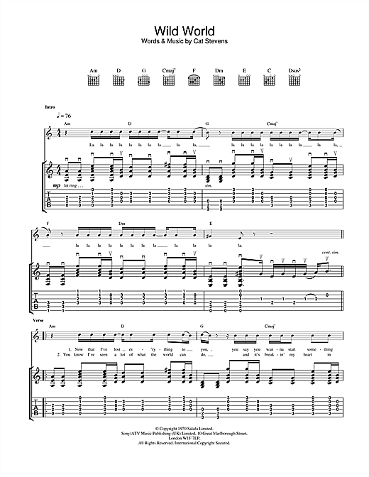 Tablature guitare Wild World de Cat Stevens - Tablature Guitare