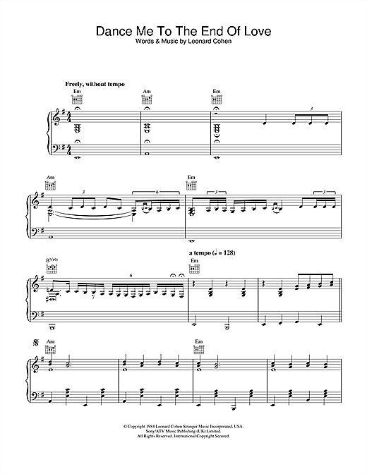 Dance Me To The End Of Love (Live Version) Sheet Music