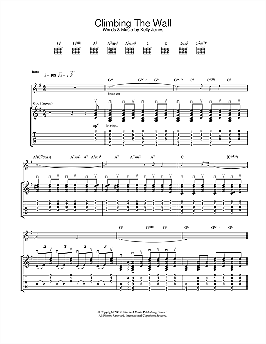 Tablature guitare Climbing The Wall de Stereophonics - Tablature Guitare