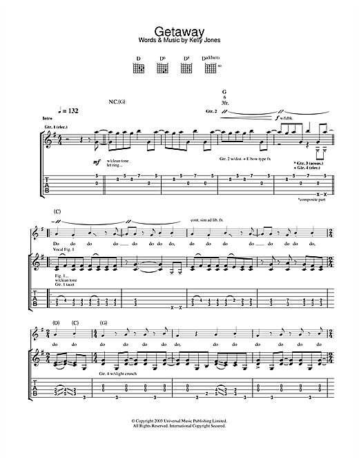 Tablature guitare Getaway de Stereophonics - Tablature Guitare