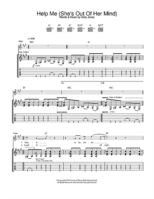 Tablature guitare Help Me (She's Out Of Her Mind) de Stereophonics - Tablature Guitare
