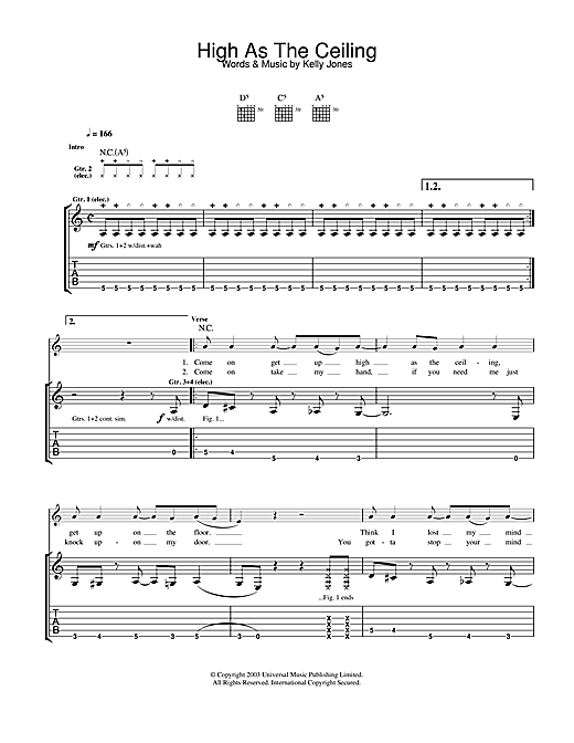 Tablature guitare High As The Ceiling de Stereophonics - Tablature Guitare