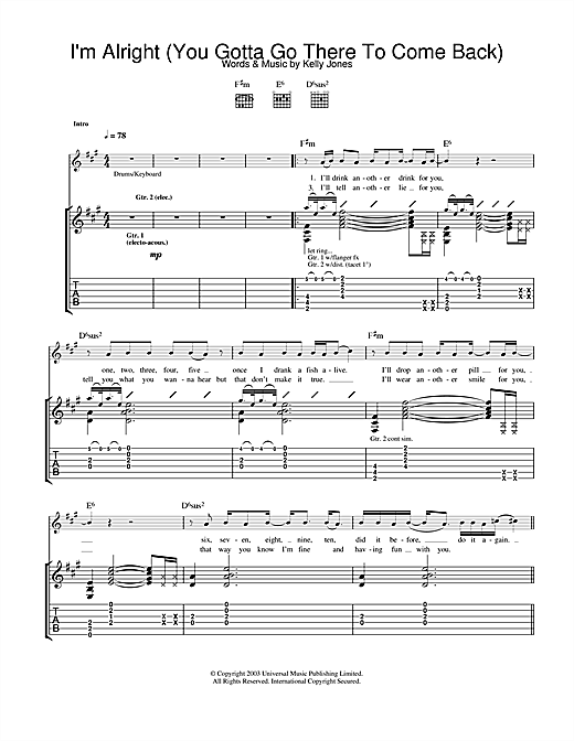 I'm Alright (You Gotta Go There To Come Back) Sheet Music