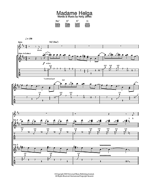 Tablature guitare Madame Helga de Stereophonics - Tablature Guitare