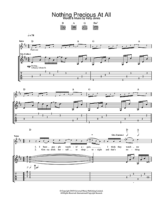 Tablature guitare Nothing Precious At All de Stereophonics - Tablature Guitare