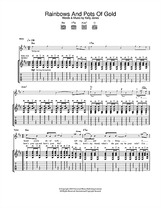 Tablature guitare Rainbows And Pots Of Gold de Stereophonics - Tablature Guitare