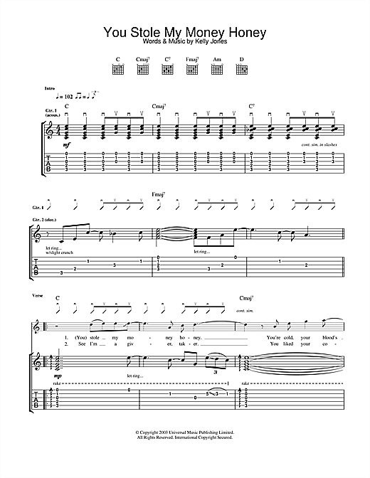 You Stole My Money Honey (Guitar Tab)