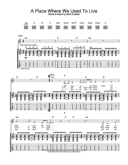 A Place Where We Used To Live (Guitar Tab)