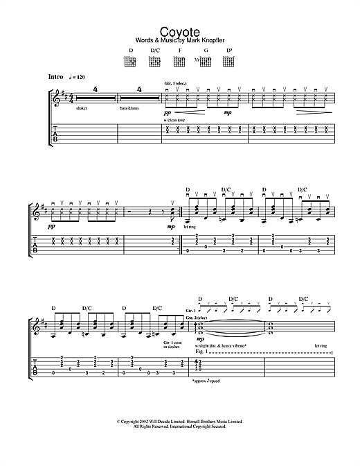 Tablature guitare Coyote de Mark Knopfler - Tablature Guitare