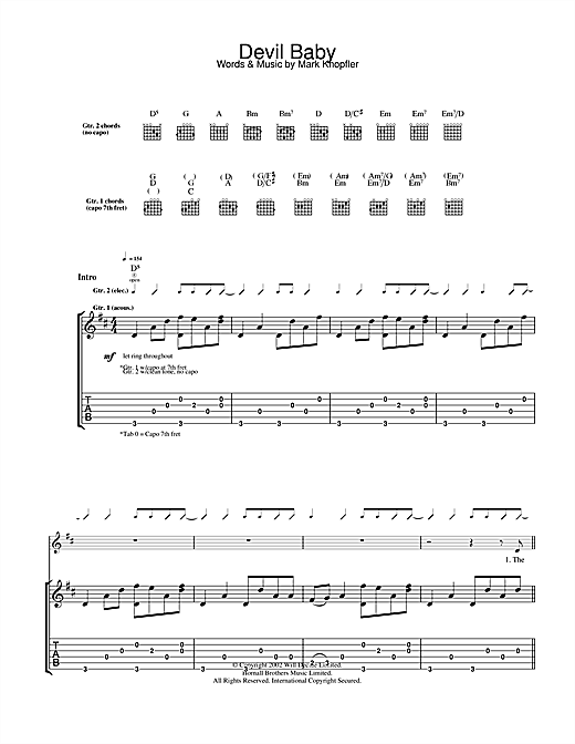Tablature guitare Devil Baby de Mark Knopfler - Tablature Guitare