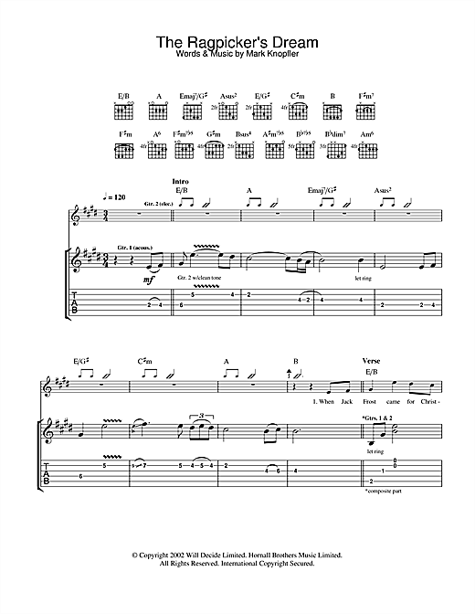 Tablature guitare The Ragpicker's Dream de Mark Knopfler - Tablature Guitare