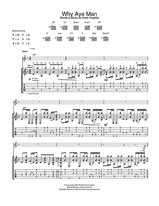 Tablature guitare Why Aye Man de Mark Knopfler - Tablature Guitare