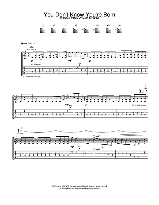 Tablature guitare You Don't Know You're Born de Mark Knopfler - Tablature Guitare