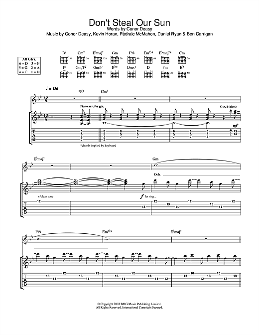 Tablature guitare Don't Steal Our Sun de The Thrills - Tablature Guitare