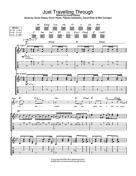 Tablature guitare Just Travelling Through de The Thrills - Tablature Guitare