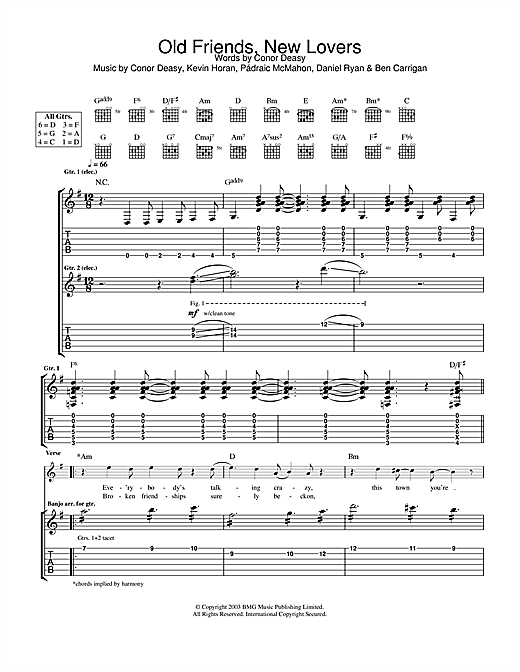 Tablature guitare Old Friends, New Lovers de The Thrills - Tablature Guitare