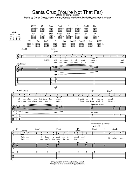 Tablature guitare Santa Cruz (You're Not That Far) de The Thrills - Tablature Guitare
