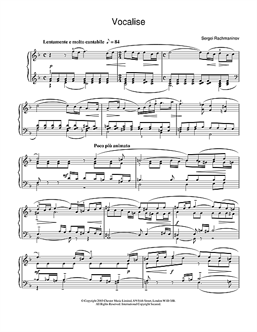Vocalise Sheet Music