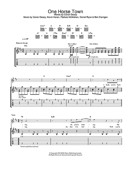 Tablature guitare One Horse Town de The Thrills - Tablature Guitare
