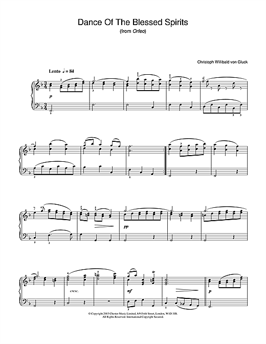 Partition piano Dance Of The Blessed Spirits de Christoph Willibald von Gluck - Piano Solo