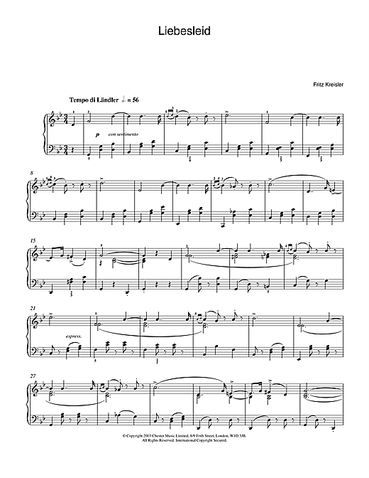 Liebesleid Sheet Music