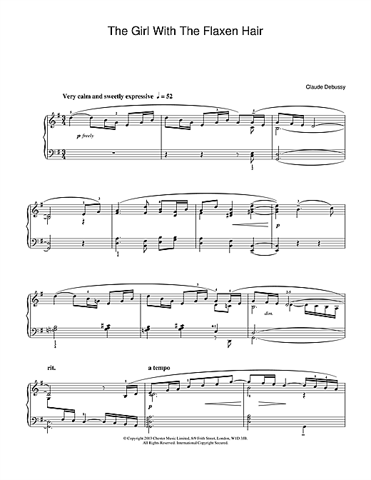 Partition piano The Girl With The Flaxen Hair de Claude Debussy - Piano Solo
