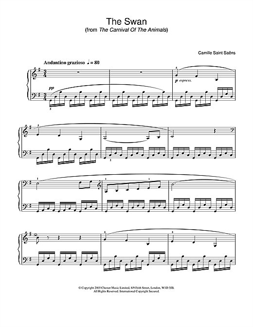 Partition piano The Swan de Camille Saint-Saens - Piano Solo