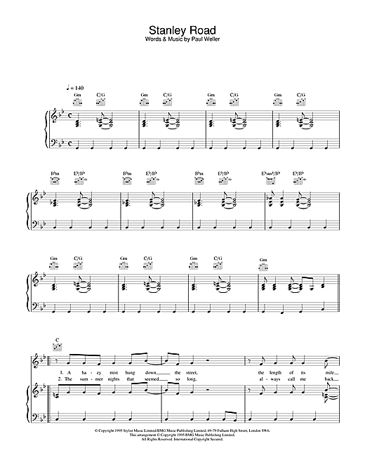 Stanley Road Sheet Music