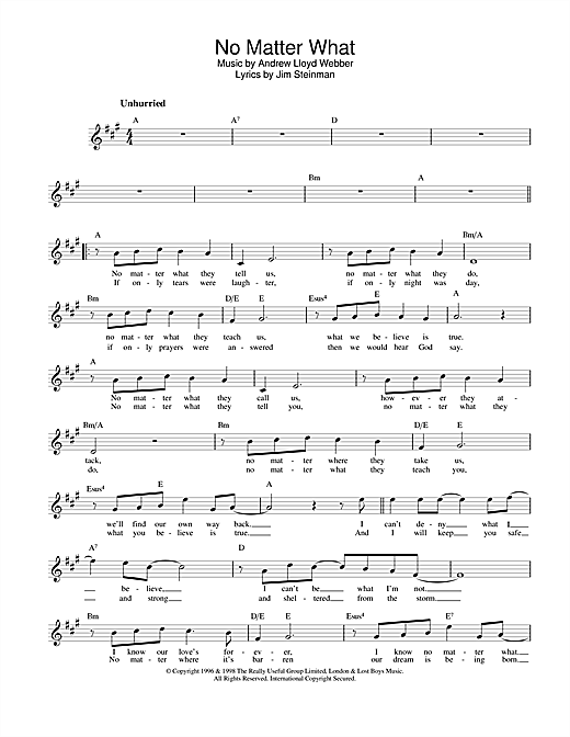 No Matter What (from Whistle Down The Wind) (Lead Sheet / Fake Book)