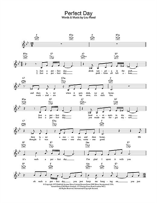 Perfect Day Sheet Music