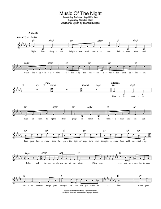 The Music Of The Night (from The Phantom Of The Opera) (Lead Sheet / Fake Book)