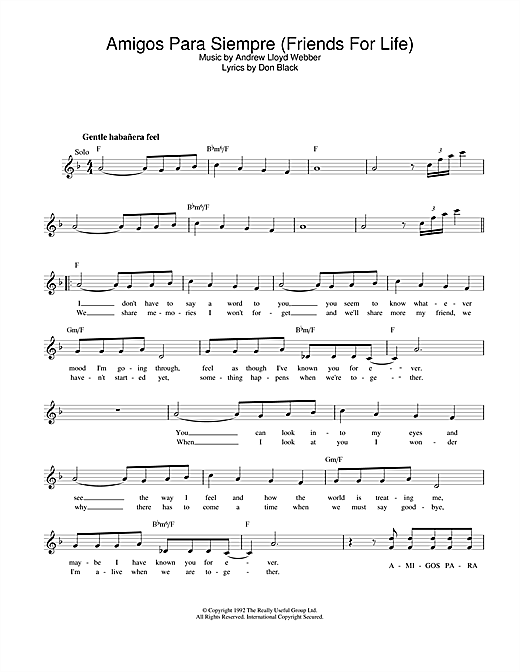 Amigos Para Siempre (Friends For Life) (Lead Sheet / Fake Book)