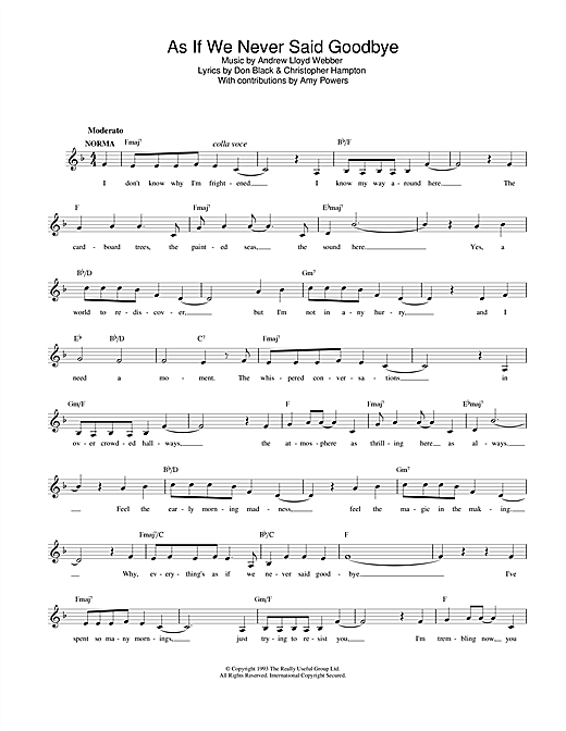 As If We Never Said Goodbye (from Sunset Boulevard) Sheet Music