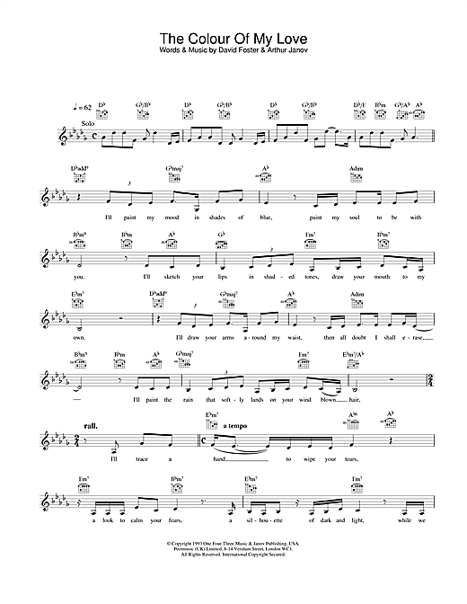The Colour Of My Love (Lead Sheet / Fake Book)