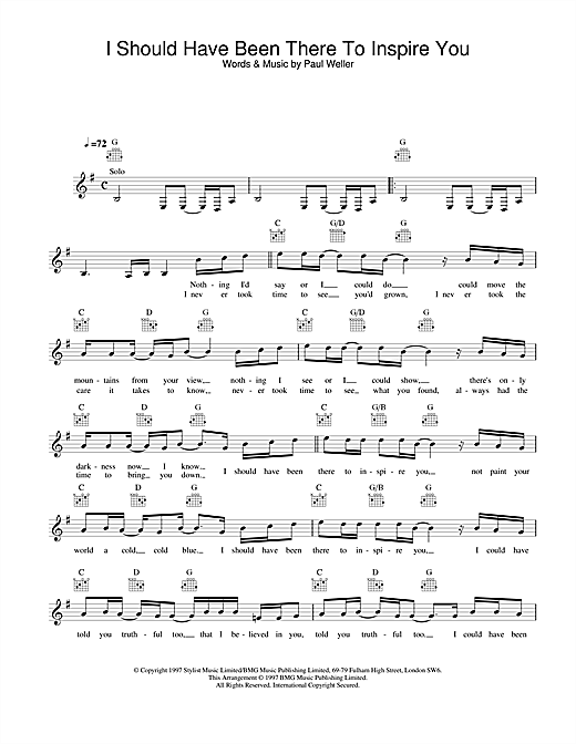 I Should Have Been There To Inspire You (Lead Sheet / Fake Book)