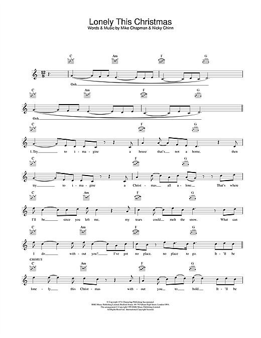 Lonely This Christmas (Lead Sheet / Fake Book)
